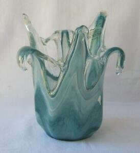 Genuine Art Glass Vase Bowl White Blue Murano Tammaro Made in Italy No 500