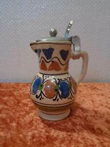 Design-Ceramica-Terracotta-Brocca-Metallo-Coperchio-Handarbeit-Dipinti