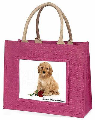 Cockerpoodle+Rose 'Liebe, die Sie Mama' Große Rosa Einkaufstasche Weihnachten,