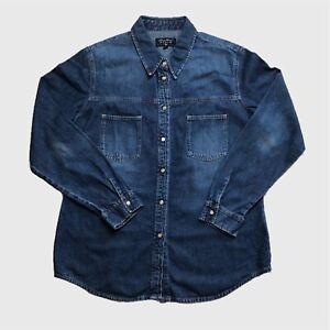 Womens-Vintage-Eddie-Bauer-Denim-Shirt-XL-Blue-Good-Condition