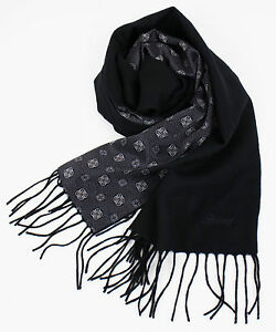 New-In-Box-BRIONI-Men-039-s-Black-Twill-100-Cashmere-Double-Face-Scarf-1365