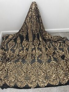 BLACK-STRETCH-MESH-W-GOLD-SEQUINS-EMBROIDERY-FABRIC-50-034-WIDE-1-YARD