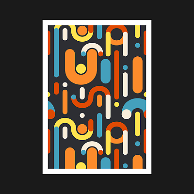 Wall Decor A5 A4 A3 A2 A1 Colourful Abstract Geometric Art Print Poster