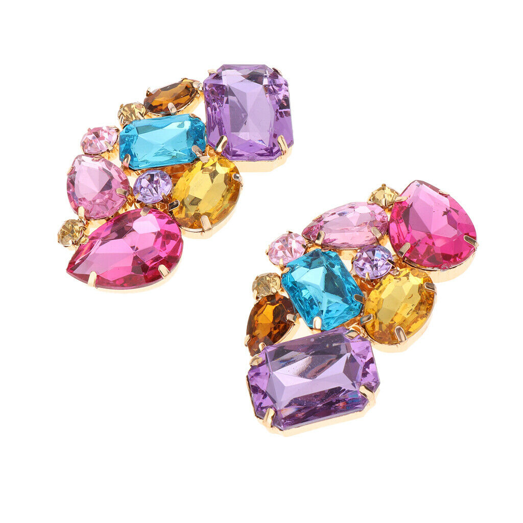 2 Pack DIY Colorful Rhinestone Shoe Clips Buckle Shoe Jewelry Decor for Bridal