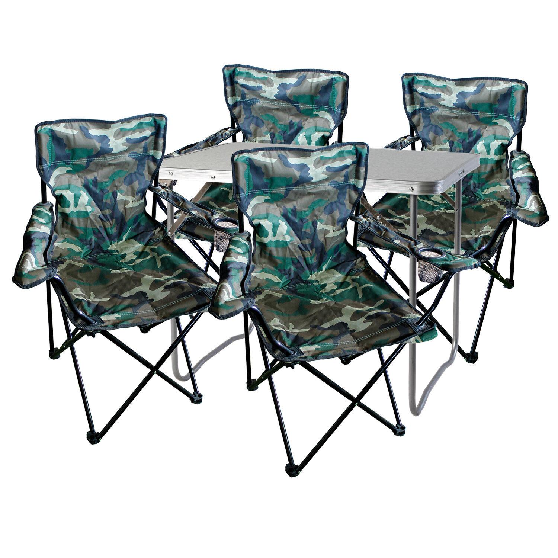 5-tlg. Camouflage Campingmöbel Set, Tisch mit Tragegriff und Stühle mit Tasche