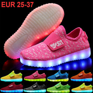 Kids Boys Girls Light Up Shoes LED Flashing Trainers Casual Sneakers Uk Size