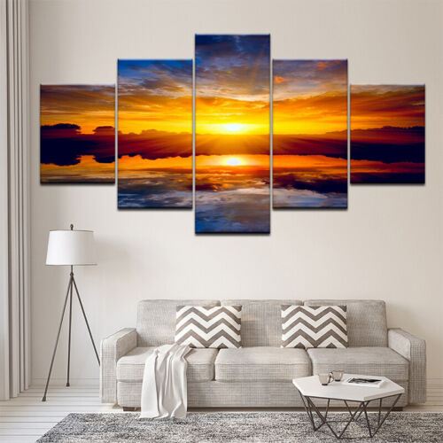 Wandbilder Sonnenuntergang Leinwand  Wohnzimmer Landschaft Kunstdruck Wandkunst