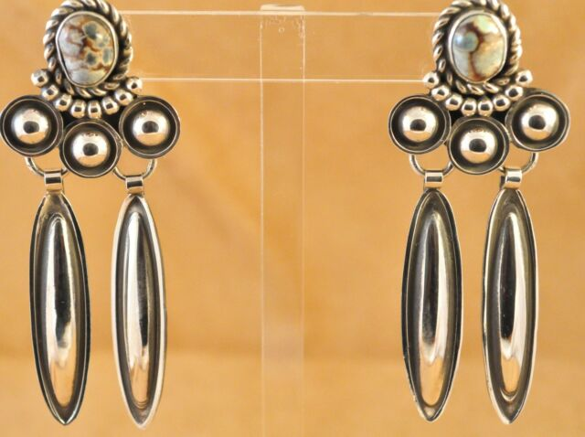 Sterling Silver Navajo Handmade Earrings Natural Damele Turquoise Alex Sanchez