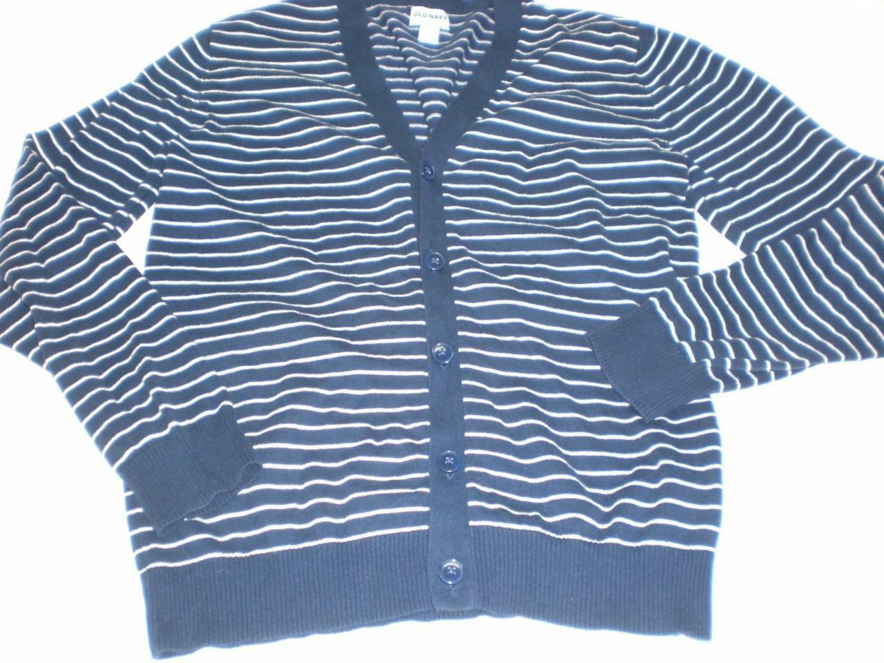 M4933 Mens OLD NAVY Blue/White Striped CARDIGAN SWEATER Cotton ...
