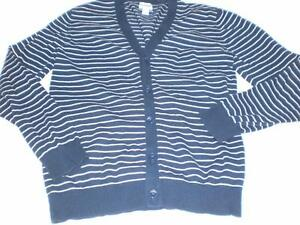 M4933 Mens Old Navy Bluewhite Striped Cardigan Sweater Cotton Small