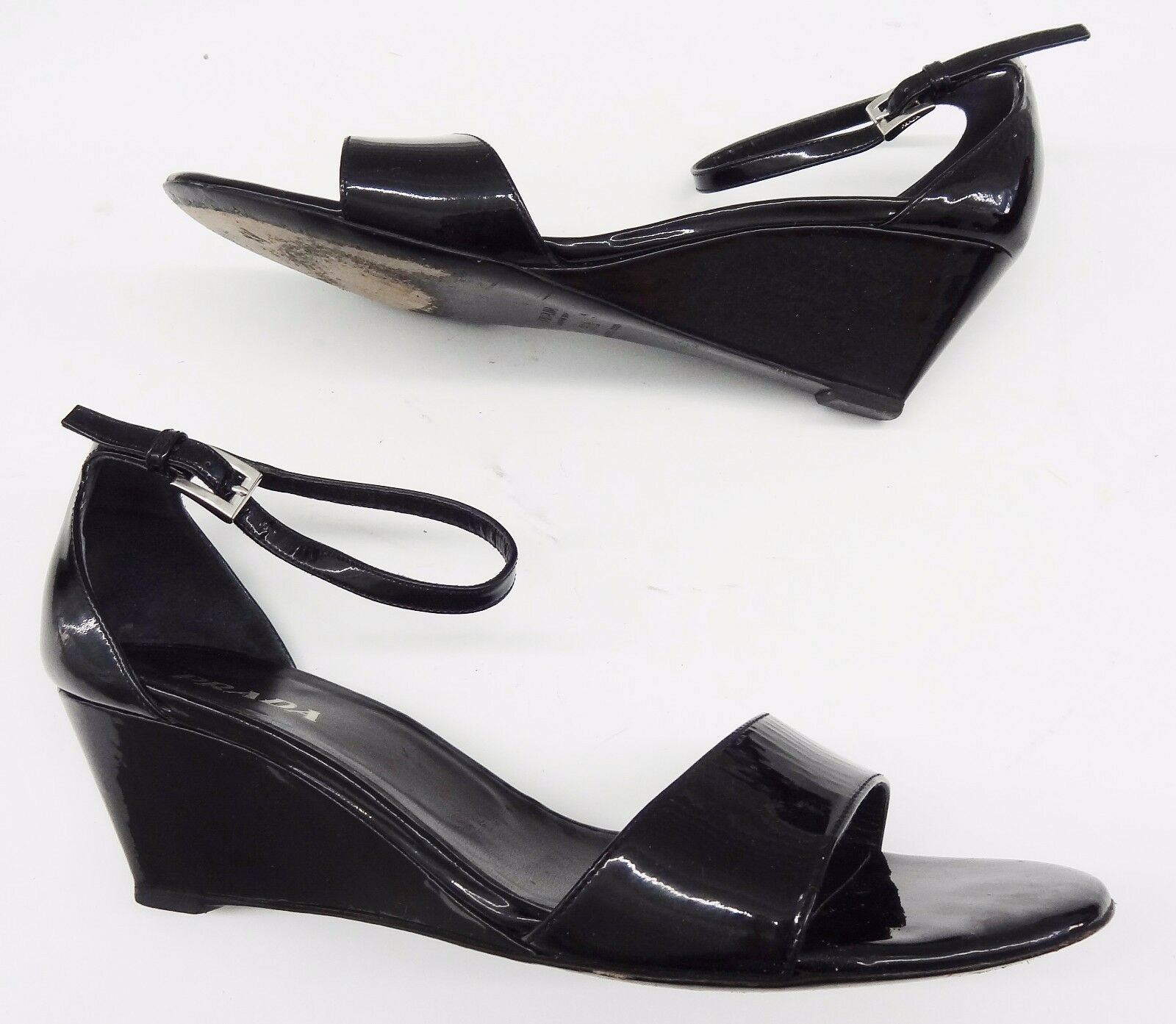 595 PRADA heels Black Patent Leather Ankle Strap Wedge  Sandals 38.5   8.5