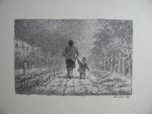 ANCHISE PICCHI - OPERA su CARTONCINO 1989 (donna e bambina viale di campagna)