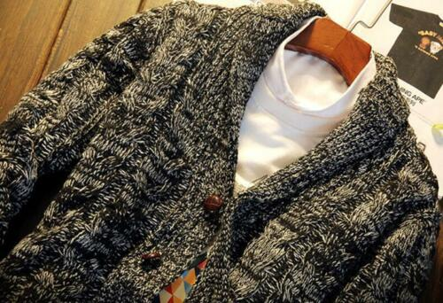 Men Chunky Collared Cardigan Casual Winter Sweater Autumn Thick Warm Knit Jumper