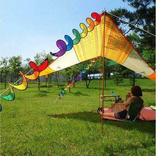 2pcs Rainbow Spiral Windmill Wind Windsock Tent Camping Garden Hanging Decor