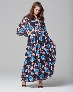 A-New-Wolf-amp-Whistle-Floral-Printed-Chiffon-Maxi-Dress-RRP-70