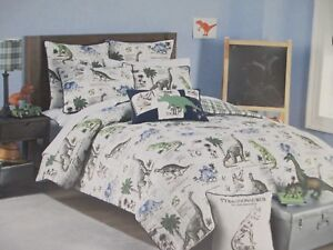 Details About Rugged Bear Kids 4pc Dinosaur Gray Blue Green Plaid Comforter Pillow Set Twin