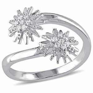 Amour White Topaz Climber Star Bypass Ring in Sterling Silver