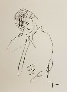 JOSE-TRUJILLO-Original-Charcoal-Paper-Sketch-Drawing-9X12-034-FIGURATIVE-PORTRAIT