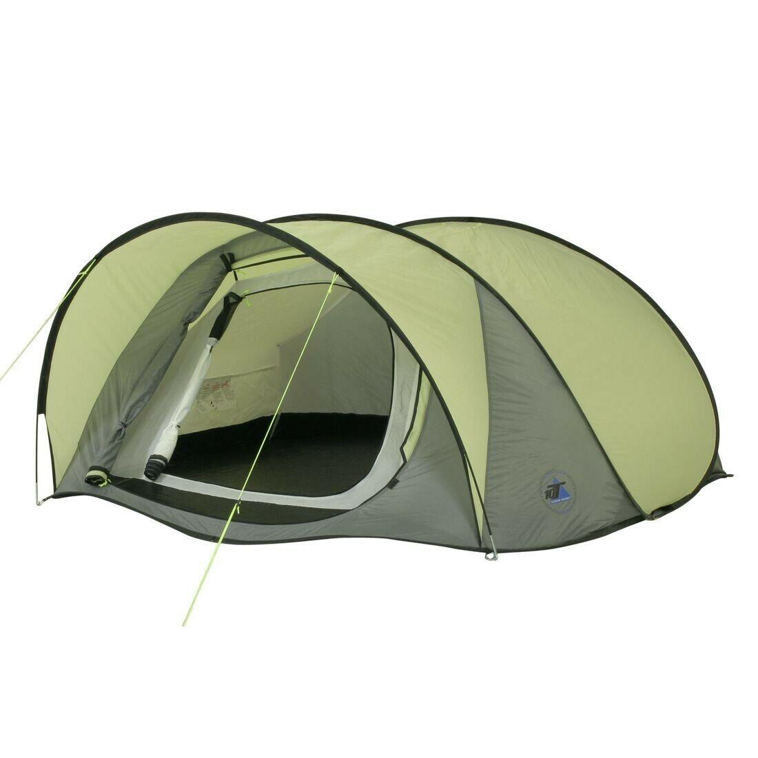 10T Camping-Zelt Maxi Pop 3   Pop-Up Wurfzelt   3 Personen   wasserdicht grün