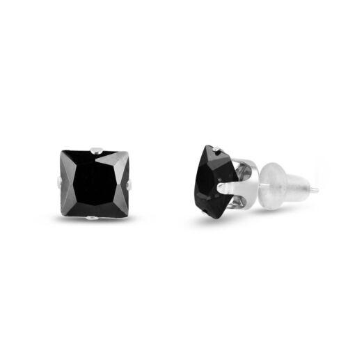 Solid 10k White Gold Square Stud Earrings Jet Black CZ ALL SIZES