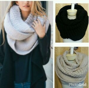 Infinity-Loop-Scarf-Chunky-Thick-Knit-Winter-Eternity-2-Circle-Cable-Cowl-Warm