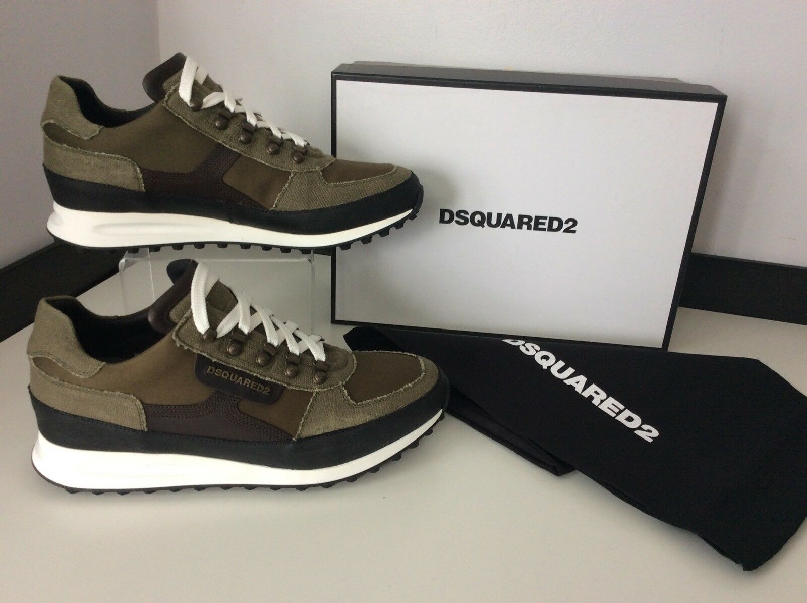 DsquaROT2 Ds2 Sneakers, Runners, Uk 7 Eu41, Military, Khaki Grün Canvas NEW
