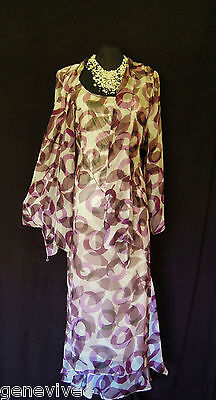 CATTIVA Size 24 26 Purple Black & Grey Ladies Designer Wedding Dress & Jacket