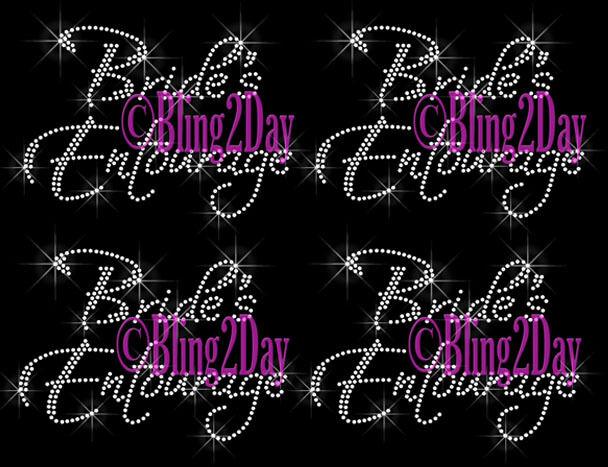 Lot of 3, 4, 5, 6,.. Bride's Entourage Iron On Rhinestone Transfer Wedding Party