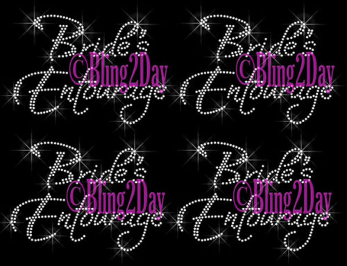 Bride/'s Entourage Iron On Rhinestone Transfer Wedding Party Lot of 3 4 6,. 5