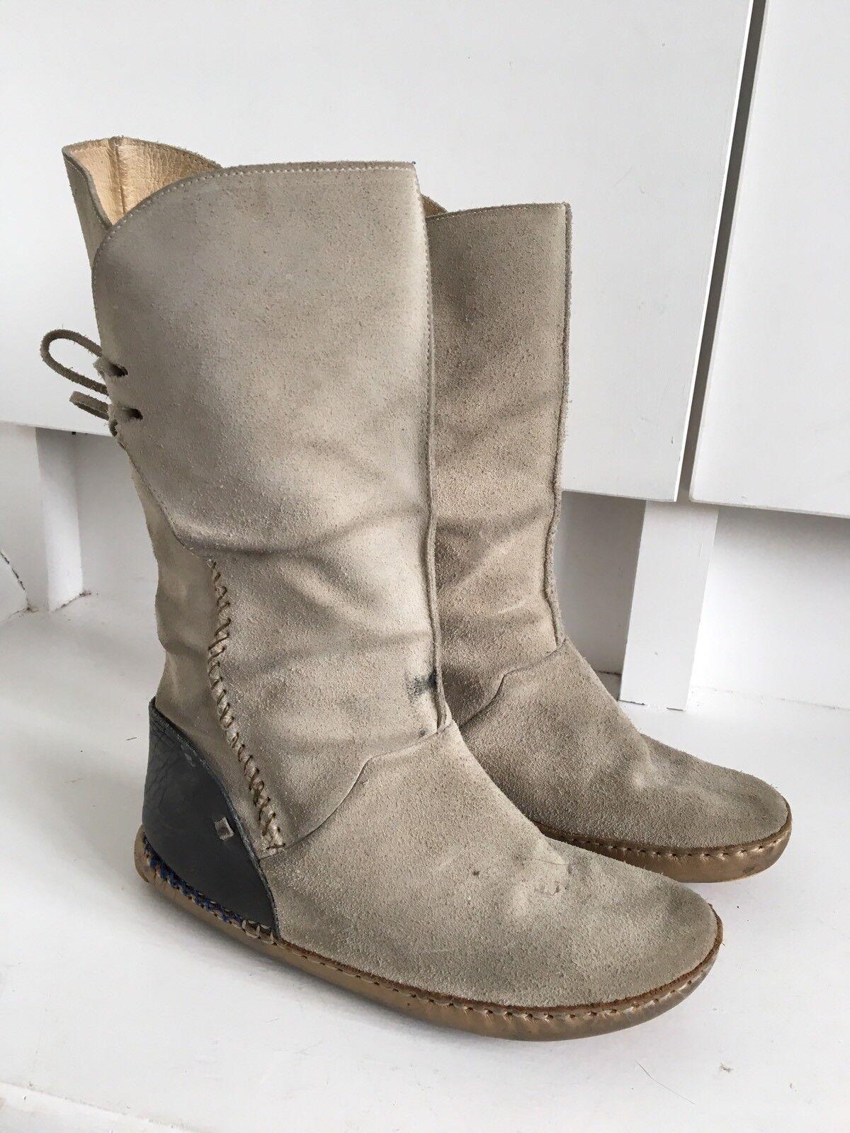 Folk Beige Woven Suede Comfort Mid Calf Designer Ladies Boots 5 38