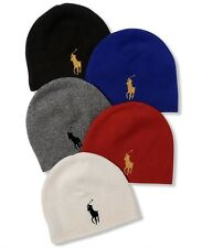 NEW RALPH LAUREN POLO MEN'S BIG PONY WINTER WARM HAT LAMBS WOOL BEANIE BLUE