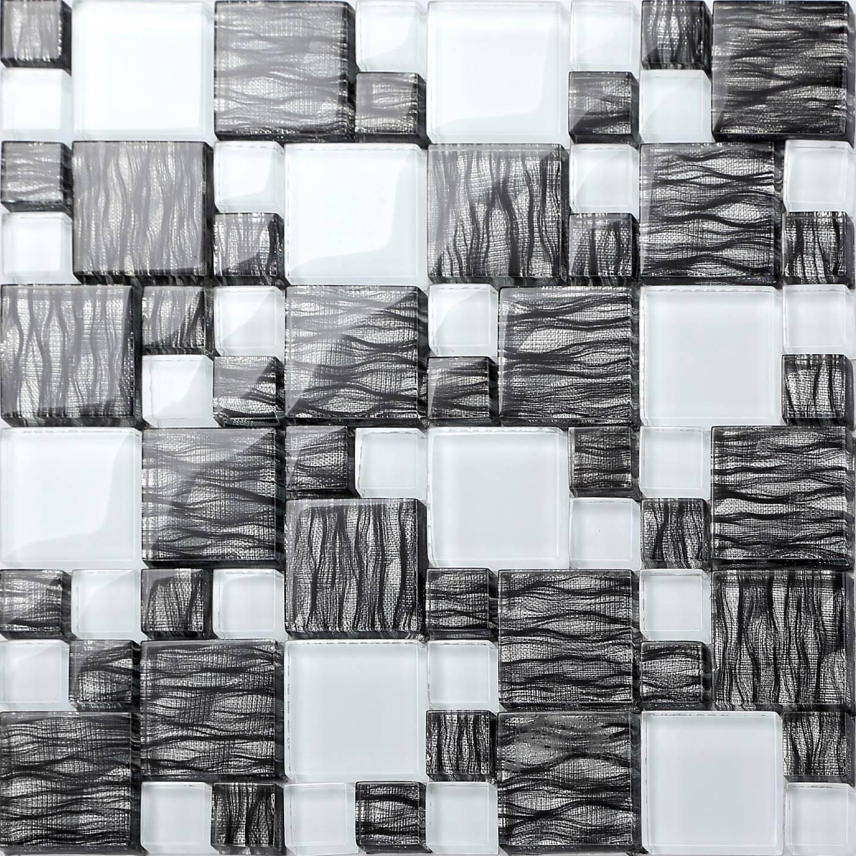1 SQ M Graphite Effect Weiß Glass Mosaic Bathroom Shower Wall Tiles  0077