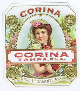 Corina, Original Externe Cigare Boîte Label, Tampa Fl Oocyqwng-08012135-409816368