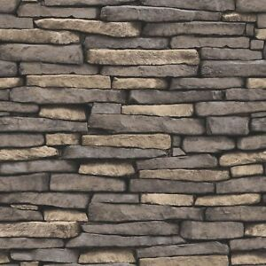 Details About Fine Decor Natural Stone Effect Wallpaper Feature Wall Grey Slate New