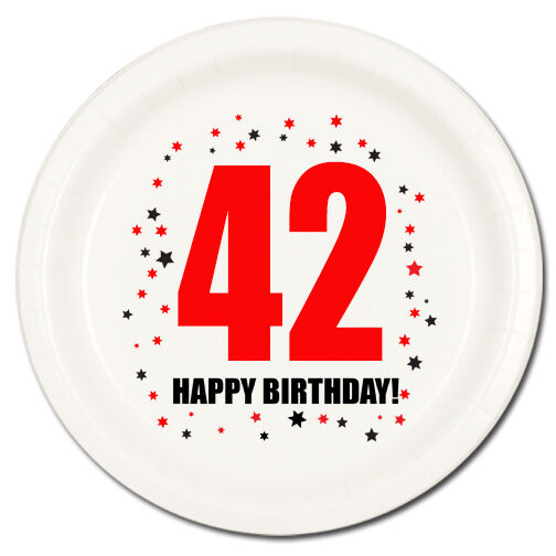 Happy 42nd Birthday Age 42 Party Supplies Dessert Cake Plates For