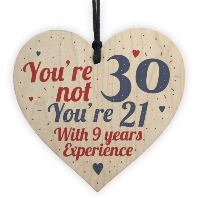 30th Birthday Gift Wood Heart Sign Novelty For Friend Family Brother Sister