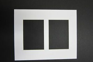 Picture Frame Mat 8x10 For 2 Photos 35x5 White Mat Set Of 3 Ebay