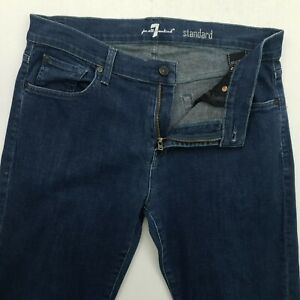 7 FOR ALL MANKIND Standard Homme Jeans Stretch W33 L30 Bleu Regular Droit