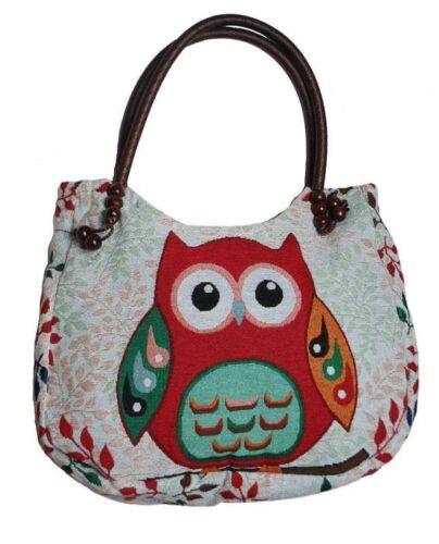 Cute Owl Tote Shoulder Bag Handbag Strap Bag Heavy Cotton Shopping Bag Ethnic