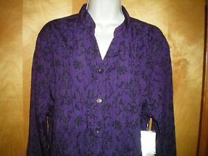 NWT-womens-size-M-8-10-purple-black-floral-paisley-l-s-crinkly-shirt-blouse-top