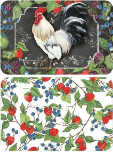 """CA 2 REVERSIBLE NON CLEAR HARD PLACEMATS 12/"""" x 18/"""" ROOSTER /& BERRIES"""
