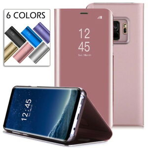 new concept 17ee7 7c44b Details about Samsung Galaxy S9 Plus Flip Smart Case Clear Translucent View  Mirror Stand Cover