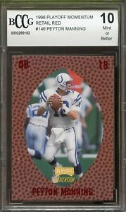 1998-Playoff-Momentum-Red-146-Peyton-Manning-Rookie-Card-BGS-BCCG-10-Mint