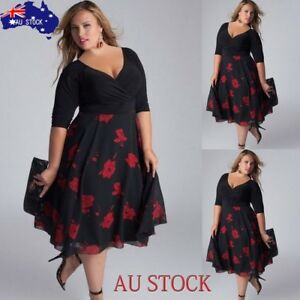 AU-STOCK-Women-Plus-Size-Sexy-V-Neck-Floral-Maxi-Evening-Party-Boho-Beach-Dress