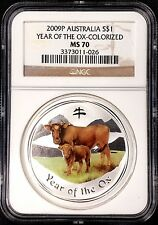 2009 P Australia Year of the Ox, Colorized, 1 Dollar silver coin! NGC MS 70!