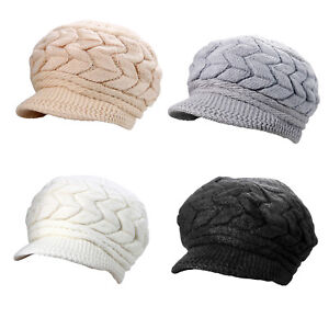 Womens Girl Casual Warm Knit Cony Hair Short Brim Fall Winter Snow ... a5739d0b79f