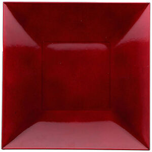 Image is loading Set-Of-6-Red-Square-Charger-Plates-Plastic-  sc 1 st  eBay & Set Of 6 Red Square Charger Plates Plastic Dinner Table Under ...