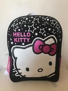 79ec047a0 NEW! SANRIO HELLO KITTY HK STAR BLACK PINK GIRLS PRINTED BACKPACK ...