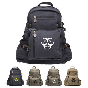 Image Is Loading Biohazard Symbol Canvas Military Backpack Travel School Book