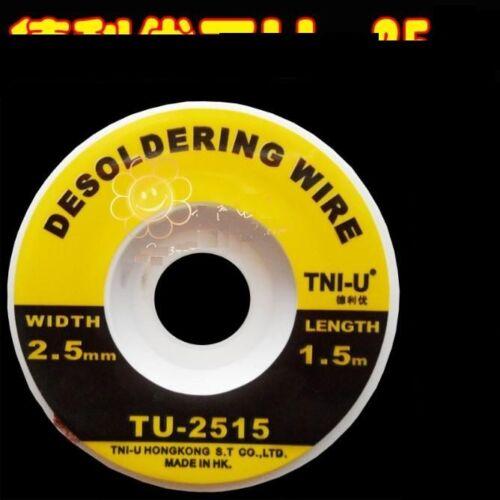 2.5mm Desoldering Braid Solder Remover Wick TNI-U 5 ft
